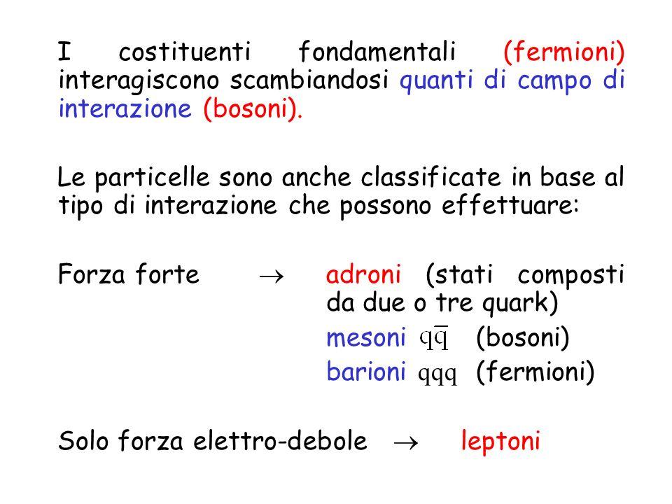 I costituenti fondamentali (fermioni) interagiscono scambiandosi quanti di campo di interazione (bosoni). Le particelle sono anche classificate in bas