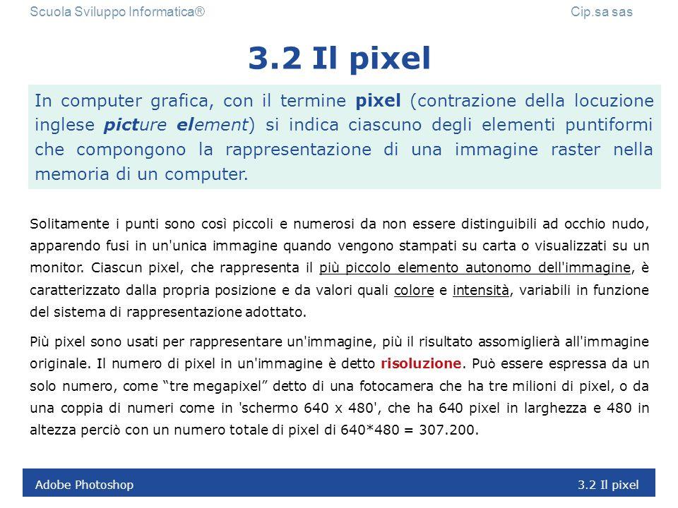 Adobe Photoshop 3.1 Le immagini digitali Scuola Sviluppo Informatica® Cip.sa sas Le immagini digitali sono fondamentalmente di due tipi: 1. una matric