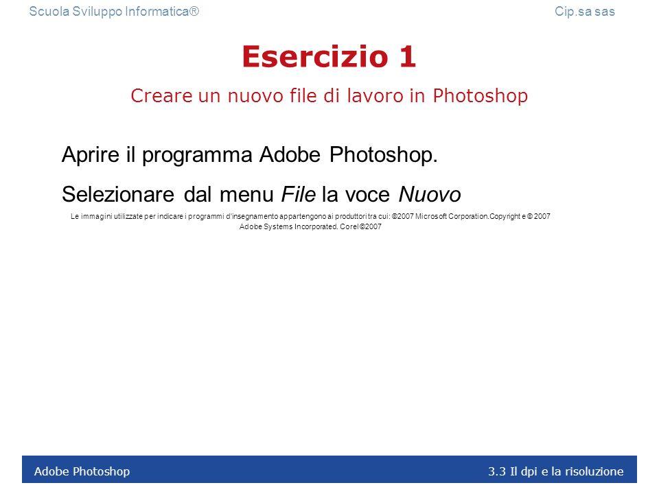 Adobe Photoshop 3.3 Il dpi e la risoluzione Scuola Sviluppo Informatica® Cip.sa sas I formati dei file possono essere scelti in base alle dimensioni d