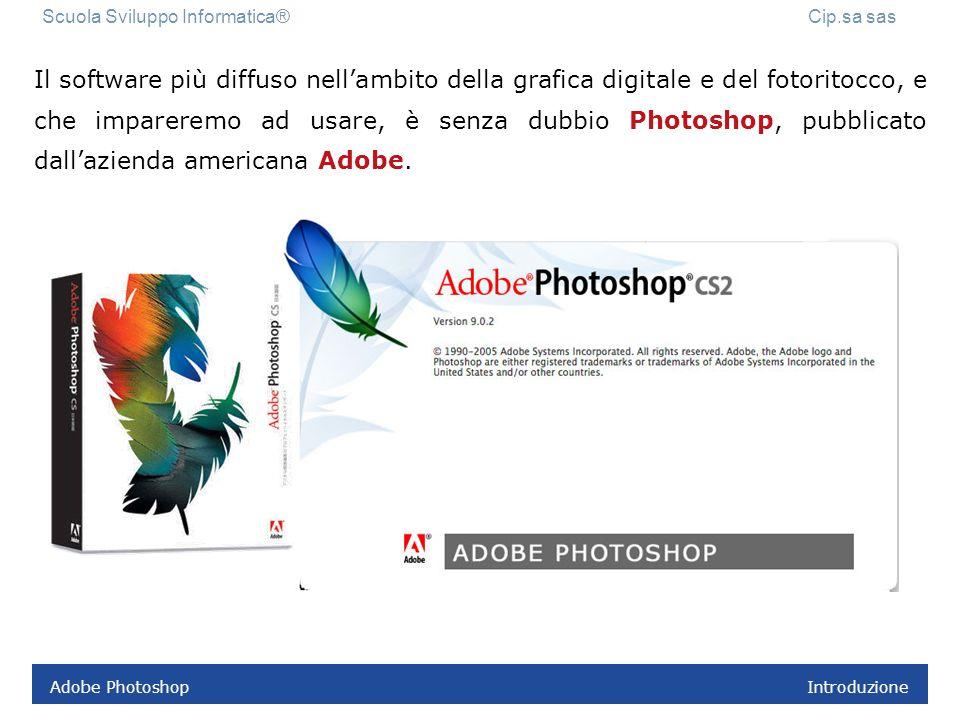 Adobe Photoshop Introduzione Il software più diffuso nellambito della grafica digitale e del fotoritocco, e che impareremo ad usare, è senza dubbio Photoshop, pubblicato dallazienda americana Adobe.