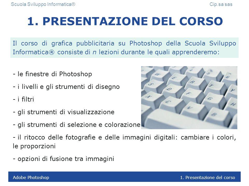 Adobe Photoshop 1.Presentazione del corso Scuola Sviluppo Informatica® Cip.sa sas 1.
