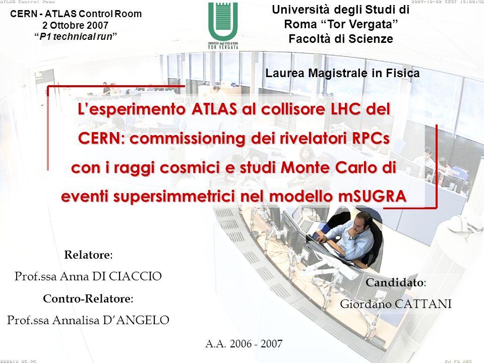 Candidato : Giordano CATTANI Lesperimento ATLAS al collisore LHC del CERN: commissioning dei rivelatori RPCs con i raggi cosmici e studi Monte Carlo d