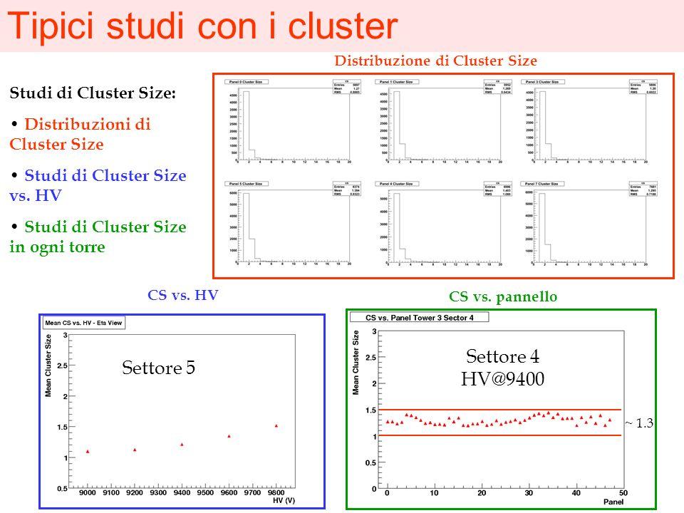 Tipici studi con i cluster Dimensione dei cluster per un pannello BOL, vista, settore 5, torre 3 @9400 V Dimensione dei cluster vs. HV Pannello BOL Se