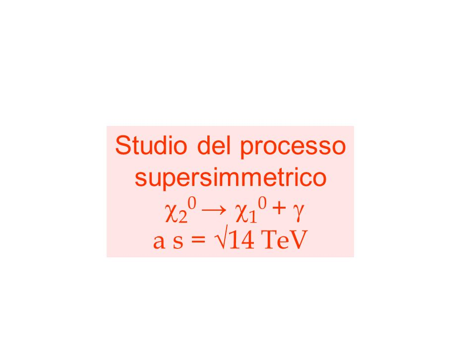 Studio del processo supersimmetrico 2 0 1 0 + a s = 14 TeV Oltre al lavoro di commissioning mi sono dedicato, parallelamente, allo studio di fattibili