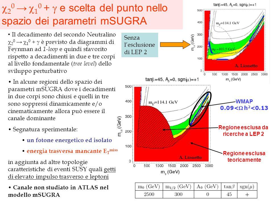 2 0 1 0 + e scelta del punto nello spazio dei parametri mSUGRA WMAP 0.09<h 2 <0.13 Regione esclusa da ricerche a LEP 2 Regione esclusa teoricamente A.