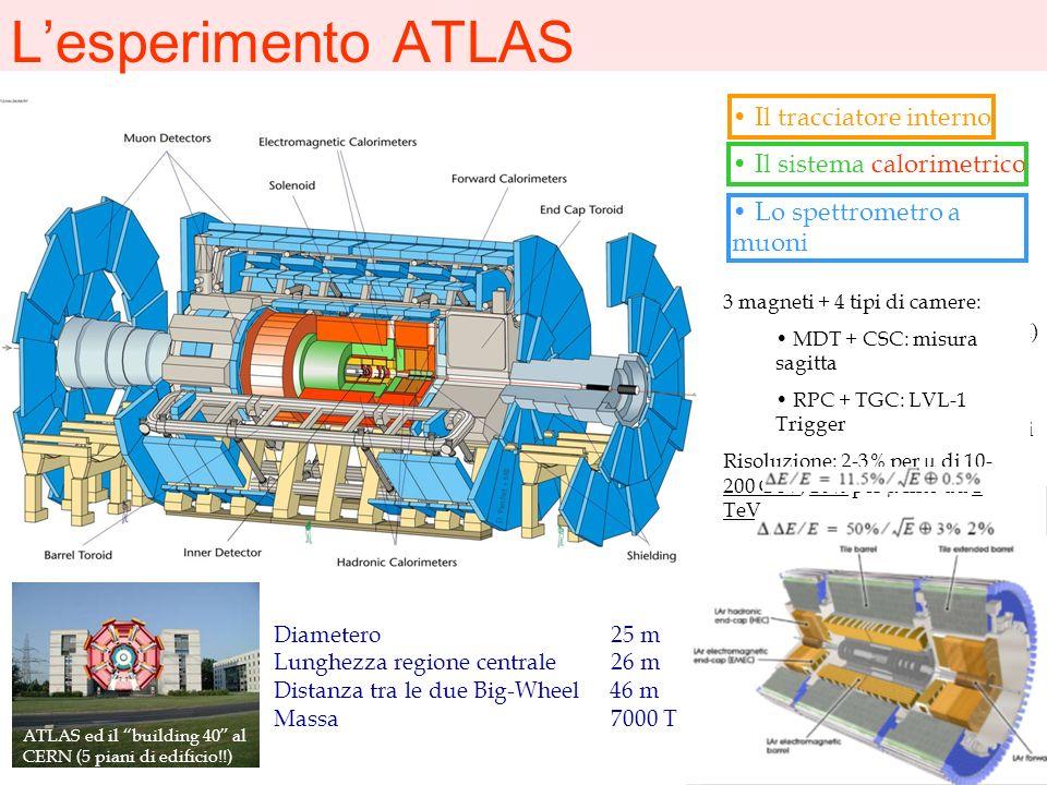 Lesperimento ATLAS Diametero 25 m Lunghezza regione centrale 26 m Distanza tra le due Big-Wheel 46 m Massa 7000 T Il tracciatore interno Il sistema ca