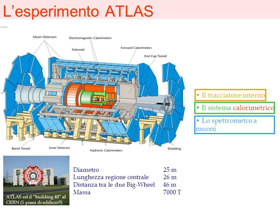 Lesperimento ATLAS Diametro 25 m Lunghezza regione centrale 26 m Distanza tra le due Big-Wheel 46 m Massa 7000 T Il tracciatore interno Il sistema cal