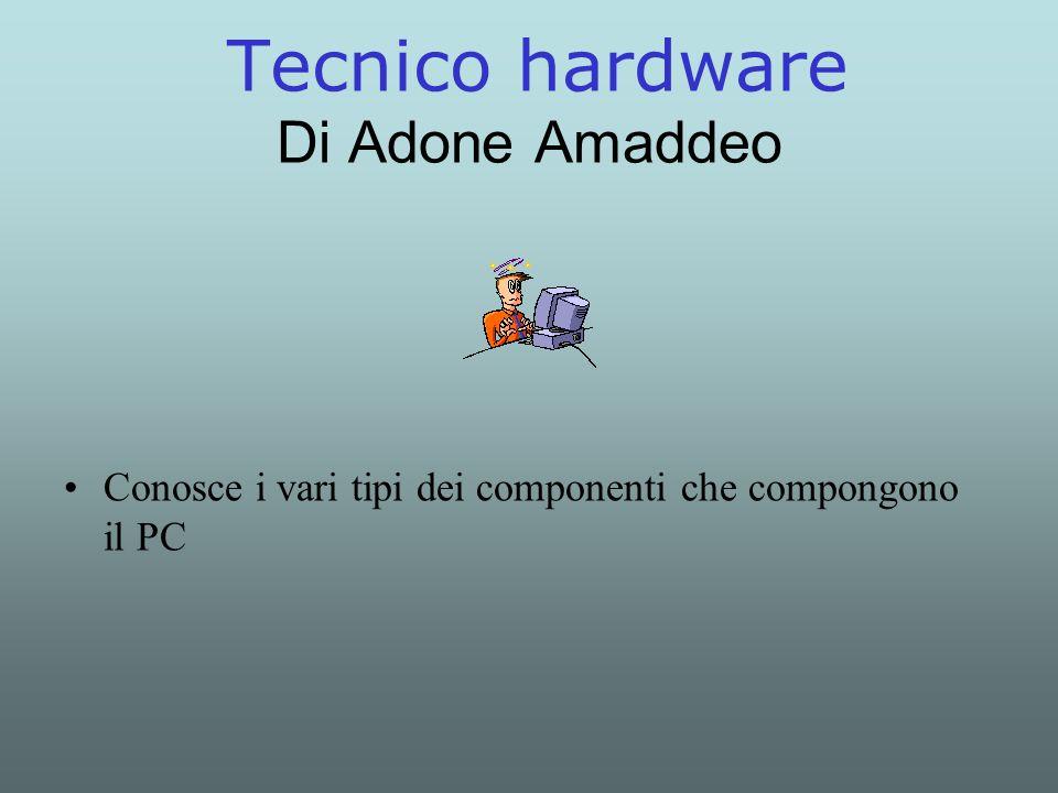 Tecnico hardware Di Adone Amaddeo Conosce i vari tipi dei componenti che compongono il PC