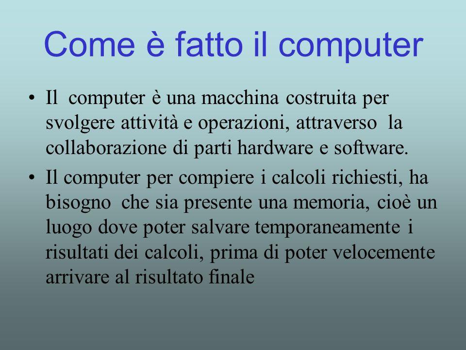 Come è fatto il computer Il computer è una macchina costruita per svolgere attività e operazioni, attraverso la collaborazione di parti hardware e sof