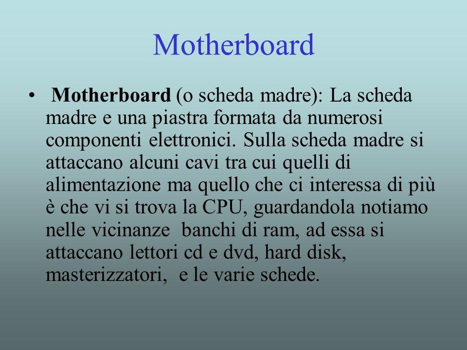 Motherboard Motherboard (o scheda madre): La scheda madre e una piastra formata da numerosi componenti elettronici. Sulla scheda madre si attaccano al