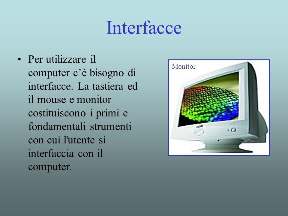 Interfacce Per utilizzare il computer cè bisogno di interfacce. La tastiera ed il mouse e monitor costituiscono i primi e fondamentali strumenti con c