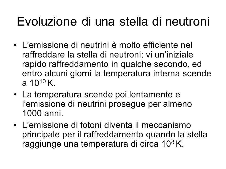 Evoluzione di una stella di neutroni Lemissione di neutrini è molto efficiente nel raffreddare la stella di neutroni; vi uniniziale rapido raffreddame