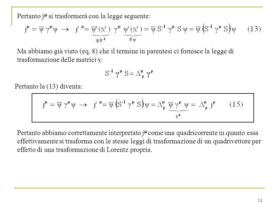 13 Pertanto j si trasformerà con la legge seguente: Ma abbiamo già visto (eq. 8) che il termine in parentesi ci fornisce la legge di trasformazione de