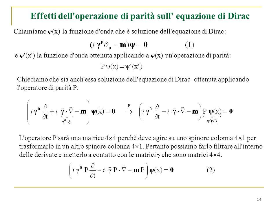 14 Effetti dell'operazione di parità sull' equazione di Dirac Chiamiamo (x) la funzione d'onda che è soluzione dell'equazione di Dirac: e '(x') la fun