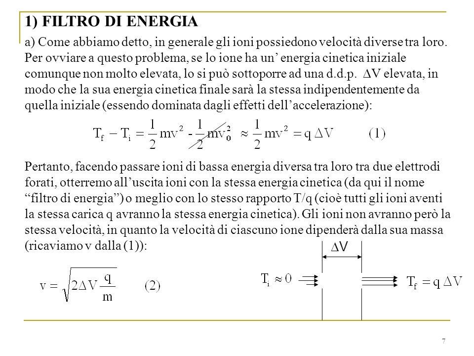 7 1) FILTRO DI ENERGIA a) Come abbiamo detto, in generale gli ioni possiedono velocità diverse tra loro.