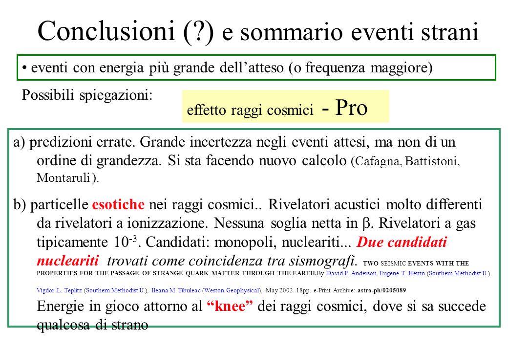 Conclusioni (?) e sommario eventi strani eventi con energia più grande dellatteso (o frequenza maggiore) Possibili spiegazioni: a) predizioni errate.