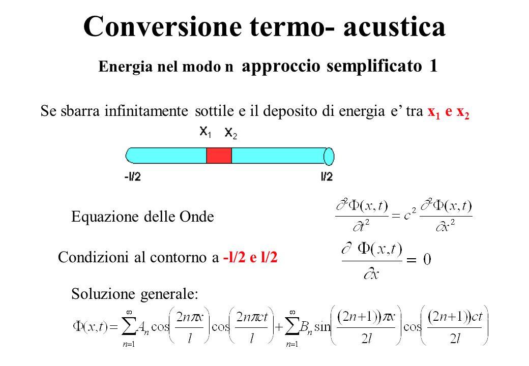Conversione termo- acustica Energia nel modo n approccio semplificato 1 Se sbarra infinitamente sottile e il deposito di energia e tra x 1 e x 2 Equazione delle Onde Condizioni al contorno a -l/2 e l/2 Soluzione generale: