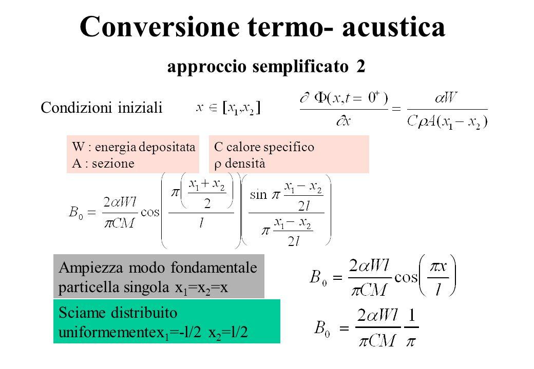 Conversione termo- acustica approccio semplificato 2 Condizioni iniziali W : energia depositata A : sezione C calore specifico densità Ampiezza modo fondamentale particella singola x 1 =x 2 =x Sciame distribuito uniformementex 1 =-l/2 x 2 =l/2