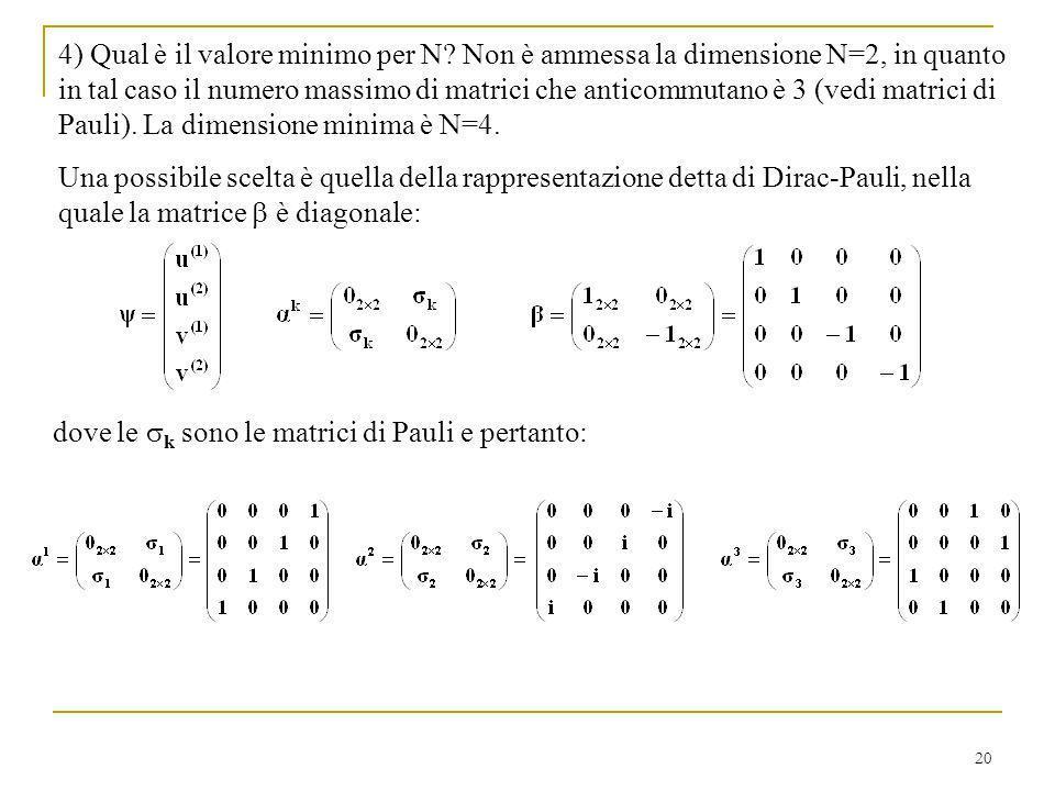 20 4) Qual è il valore minimo per N? Non è ammessa la dimensione N=2, in quanto in tal caso il numero massimo di matrici che anticommutano è 3 (vedi m