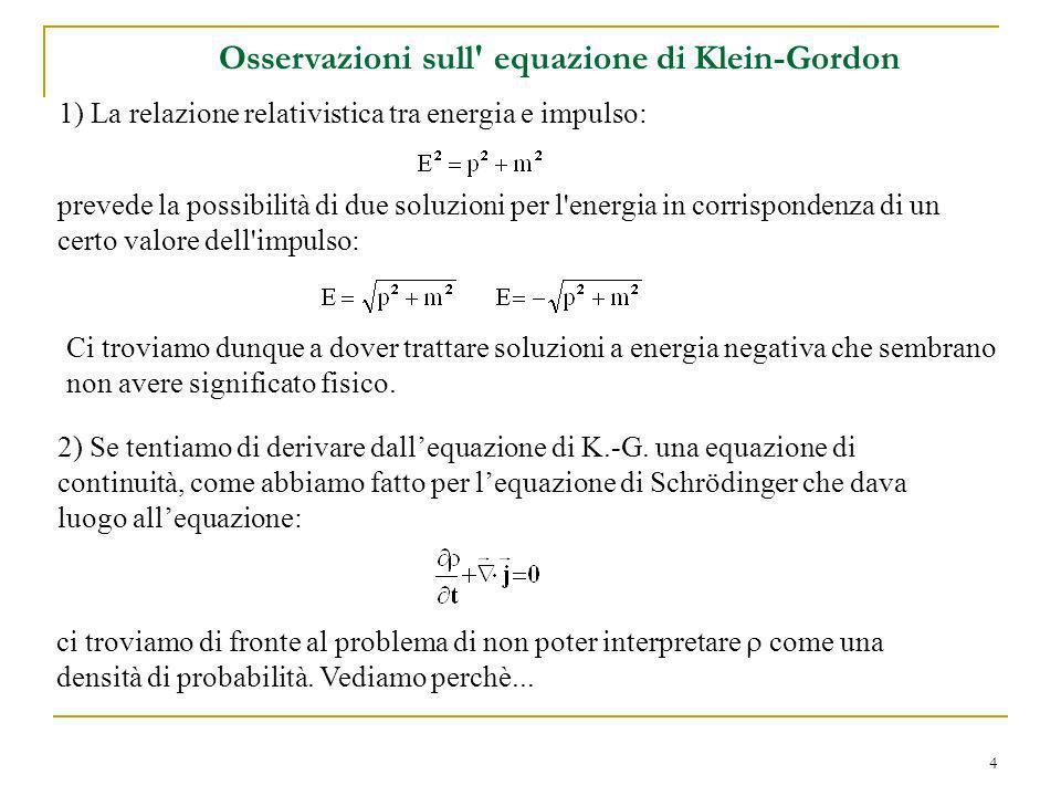 4 Osservazioni sull' equazione di Klein-Gordon 1) La relazione relativistica tra energia e impulso: prevede la possibilità di due soluzioni per l'ener