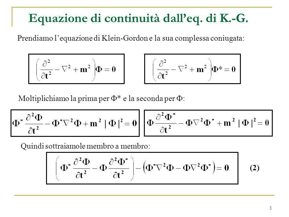 5 Equazione di continuità dalleq. di K.-G. Prendiamo lequazione di Klein-Gordon e la sua complessa coniugata: Moltiplichiamo la prima per * e la secon