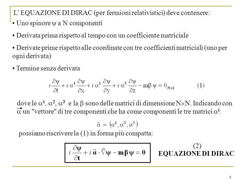 9 L EQUAZIONE DI DIRAC (per fermioni relativistici) deve contenere: Uno spinore a N componenti Derivata prima rispetto al tempo con un coefficiente ma