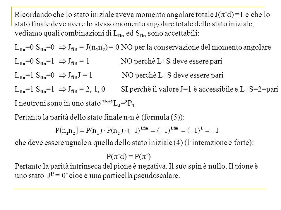Ricordando che lo stato iniziale aveva momento angolare totale J( - d) =1 e che lo stato finale deve avere lo stesso momento angolare totale dello sta