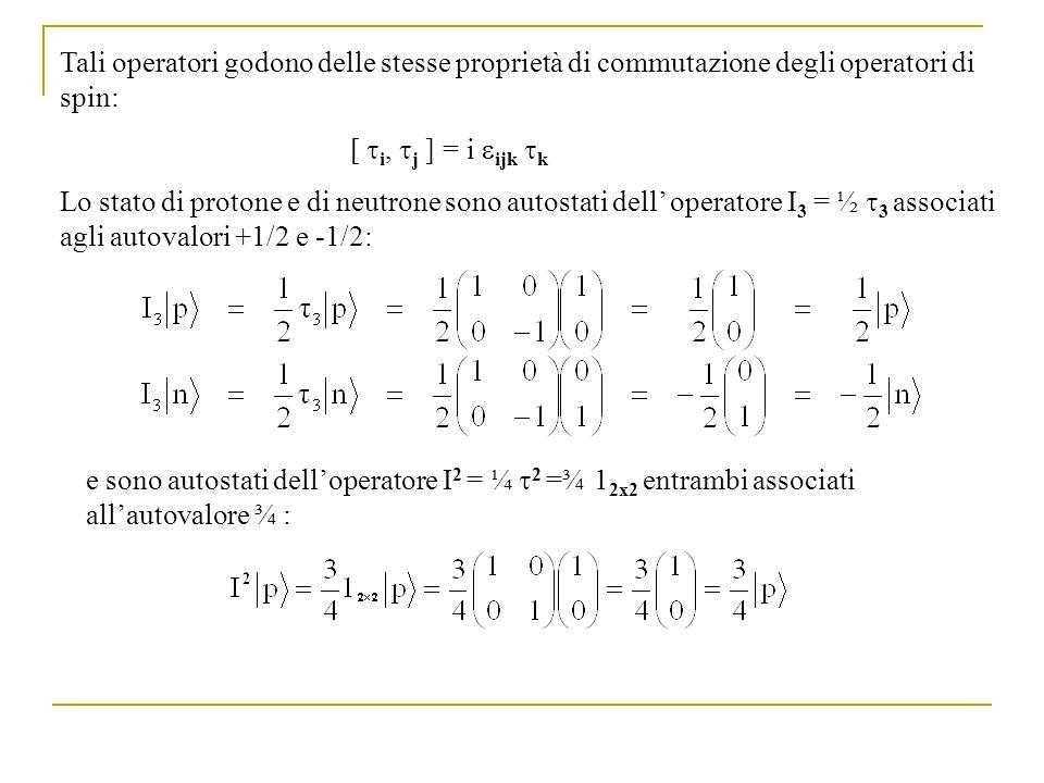 Tali operatori godono delle stesse proprietà di commutazione degli operatori di spin: [ i, j ] = i ijk k Lo stato di protone e di neutrone sono autost