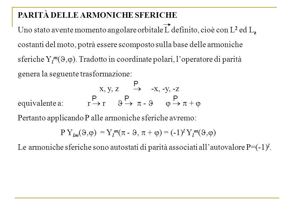 PARITÀ DELLE ARMONICHE SFERICHE Uno stato avente momento angolare orbitale L definito, cioè con L 2 ed L z costanti del moto, potrà essere scomposto s