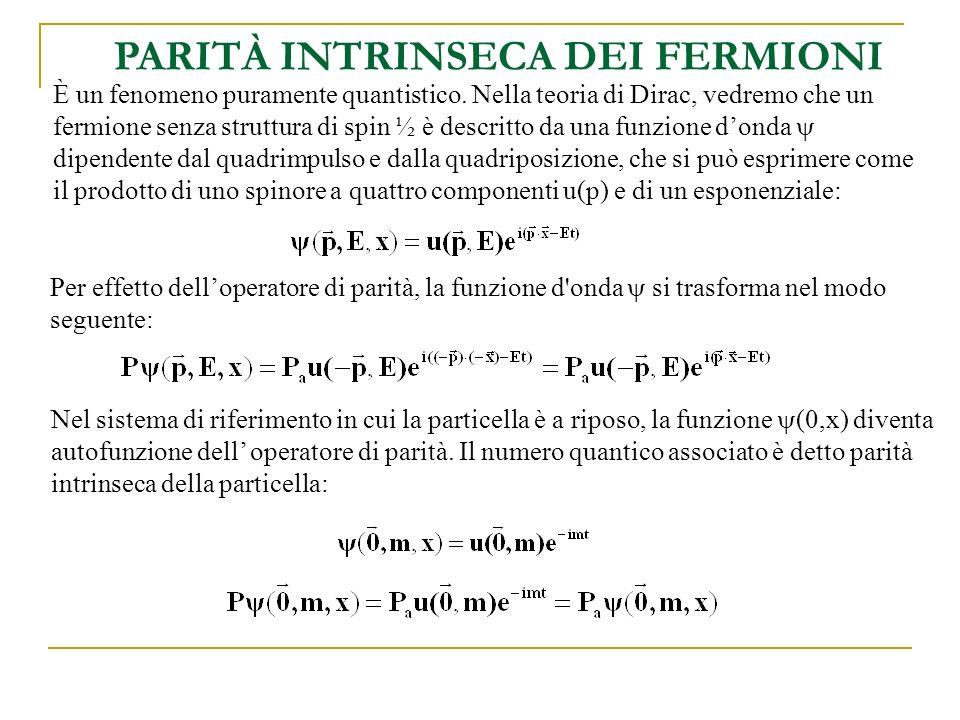 P(e + e - ) = P(e + ) P(e - ) (-1) L = -1 Nella categoria dei fermioni cadono ovviamente anche i quark e gli antiquark, pertanto anche la parità di un sistema quark-antiquark è negativa se L=0: Si può dimostrare che delle due soluzioni dell equazione di Dirac che sono associate rispettivamente al fermione e allantifermione, una è associata allautovalore di parità +1 e laltra allautovalore -1.