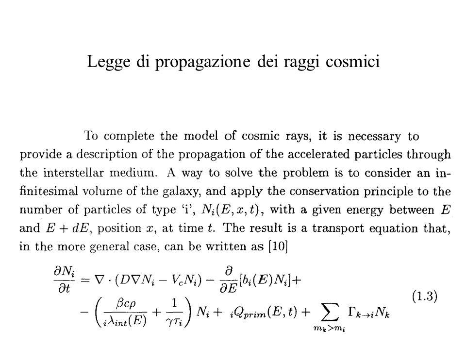 Legge di propagazione dei raggi cosmici