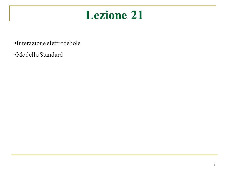1 Lezione 21 Interazione elettrodebole Modello Standard