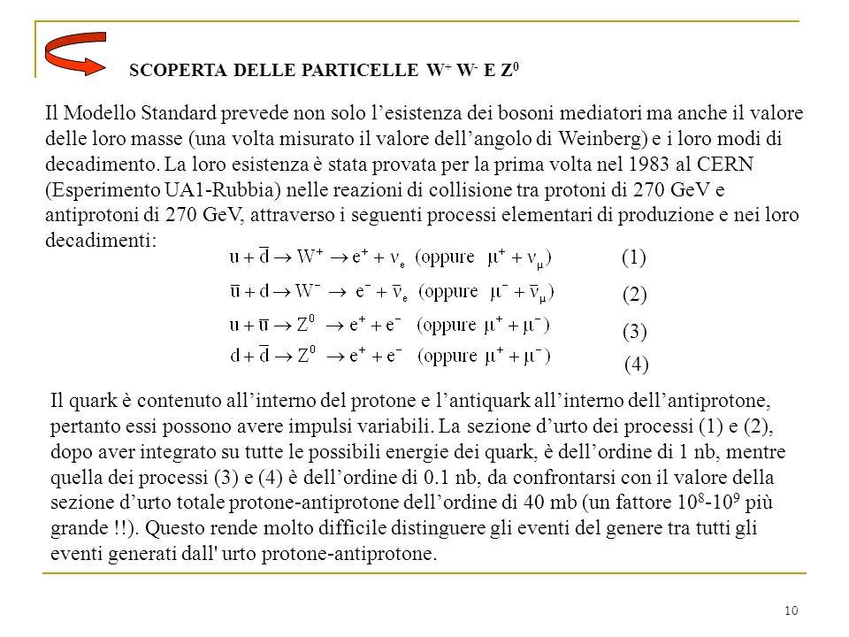 10 SCOPERTA DELLE PARTICELLE W + W - E Z 0 Il Modello Standard prevede non solo lesistenza dei bosoni mediatori ma anche il valore delle loro masse (una volta misurato il valore dellangolo di Weinberg) e i loro modi di decadimento.