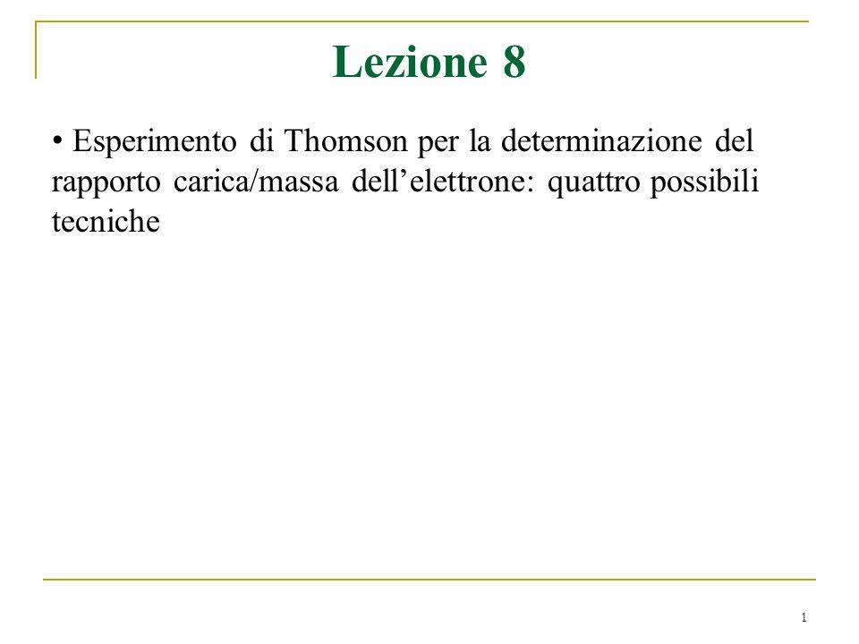 1 Lezione 8 Esperimento di Thomson per la determinazione del rapporto carica/massa dellelettrone: quattro possibili tecniche