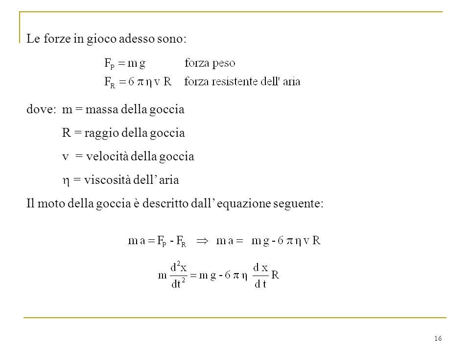 16 Le forze in gioco adesso sono: dove: m = massa della goccia R = raggio della goccia v = velocità della goccia = viscosità dell aria Il moto della g