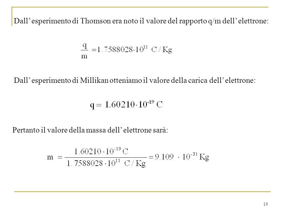 19 Dall esperimento di Thomson era noto il valore del rapporto q/m dell elettrone: Dall esperimento di Millikan otteniamo il valore della carica dell