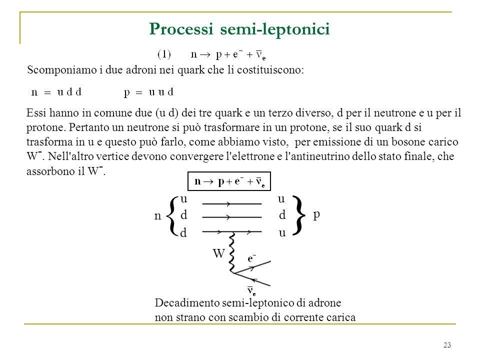 23 Processi semi-leptonici W Decadimento semi-leptonico di adrone non strano con scambio di corrente carica n p u d d u d u Scomponiamo i due adroni nei quark che li costituiscono: Essi hanno in comune due (u d) dei tre quark e un terzo diverso, d per il neutrone e u per il protone.