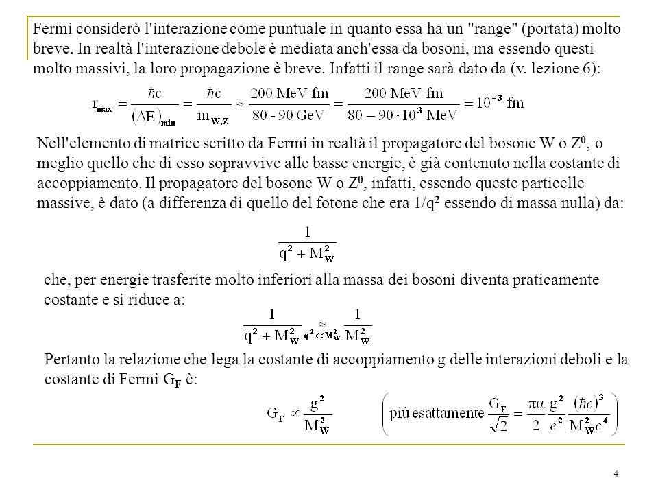 4 Fermi considerò l interazione come puntuale in quanto essa ha un range (portata) molto breve.