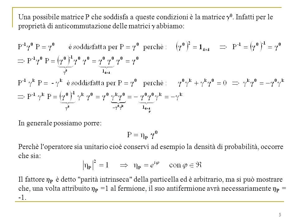 5 Una possibile matrice P che soddisfa a queste condizioni è la matrice 0. Infatti per le proprietà di anticommutazione delle matrici abbiamo: In gene