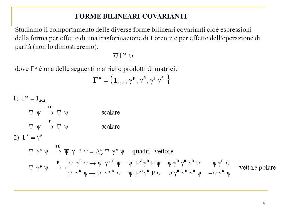 6 FORME BILINEARI COVARIANTI Studiamo il comportamento delle diverse forme bilineari covarianti cioè espressioni della forma per effetto di una trasfo