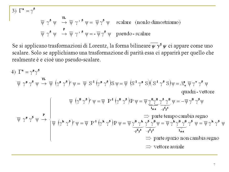 7 Se si applicano trasformazioni di Lorentz, la forma bilineare 5 ci appare come uno scalare. Solo se applichiamo una trasformazione di parità essa ci