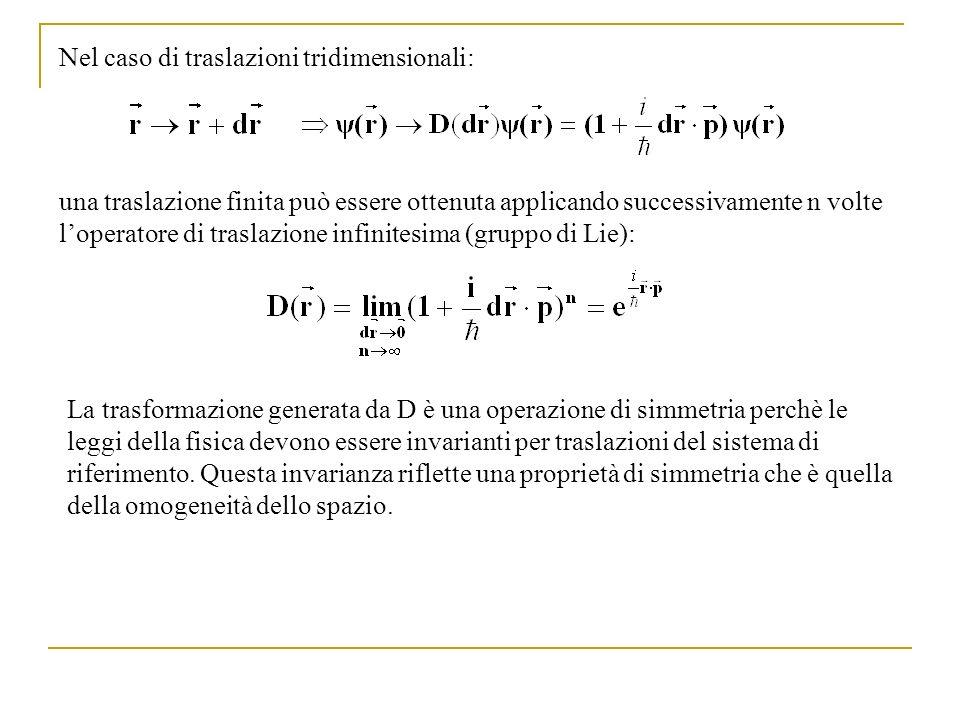 Nel caso di traslazioni tridimensionali: una traslazione finita può essere ottenuta applicando successivamente n volte loperatore di traslazione infin
