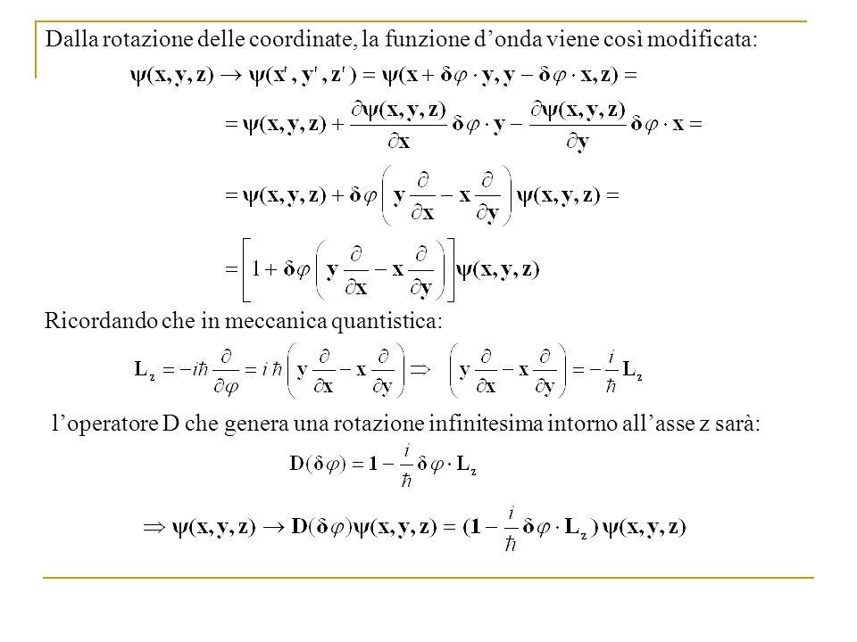 Dalla rotazione delle coordinate, la funzione donda viene così modificata: Ricordando che in meccanica quantistica: loperatore D che genera una rotazi