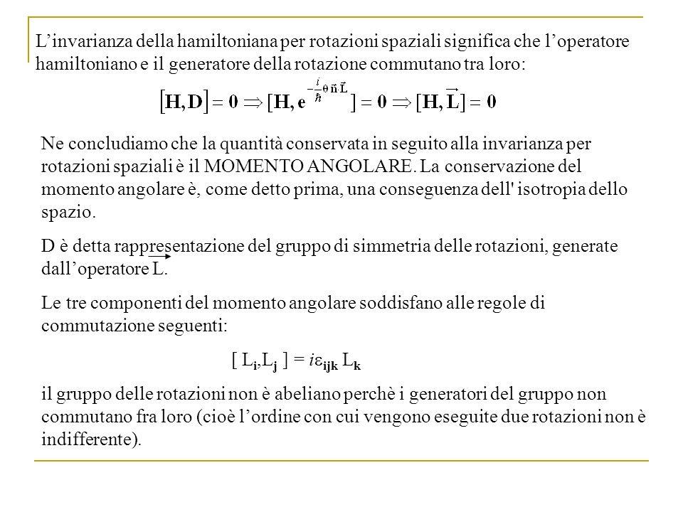 Linvarianza della hamiltoniana per rotazioni spaziali significa che loperatore hamiltoniano e il generatore della rotazione commutano tra loro: Ne con