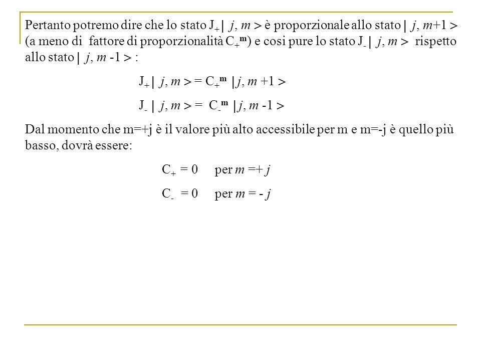 Pertanto potremo dire che lo stato J + j, m è proporzionale allo stato j, m+1 (a meno di fattore di proporzionalità C + m ) e cosi pure lo stato J - j