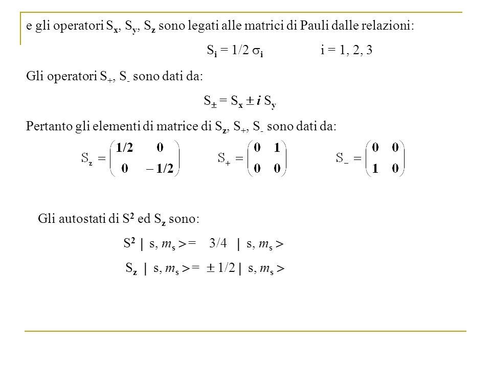Gli operatori S +, S - sono dati da: S = S x i S y e gli operatori S x, S y, S z sono legati alle matrici di Pauli dalle relazioni: S i = 1/2 i i = 1,
