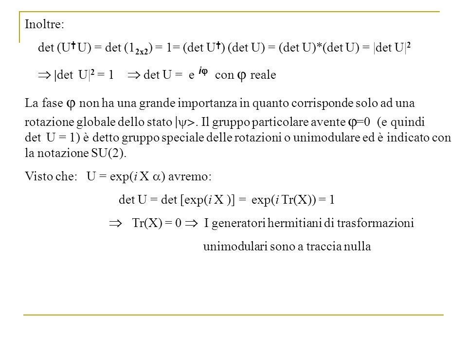 Inoltre: det (U U) = det (1 2x2 ) = 1= (det U ) (det U) = (det U)*(det U) = |det U| 2 |det U| 2 = 1 det U = e i con reale La fase non ha una grande im