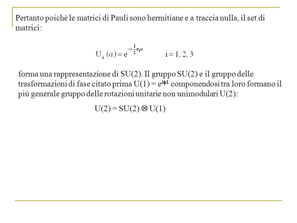 Pertanto poichè le matrici di Pauli sono hermitiane e a traccia nulla, il set di matrici: forma una rappresentazione di SU(2). Il gruppo SU(2) e il gr