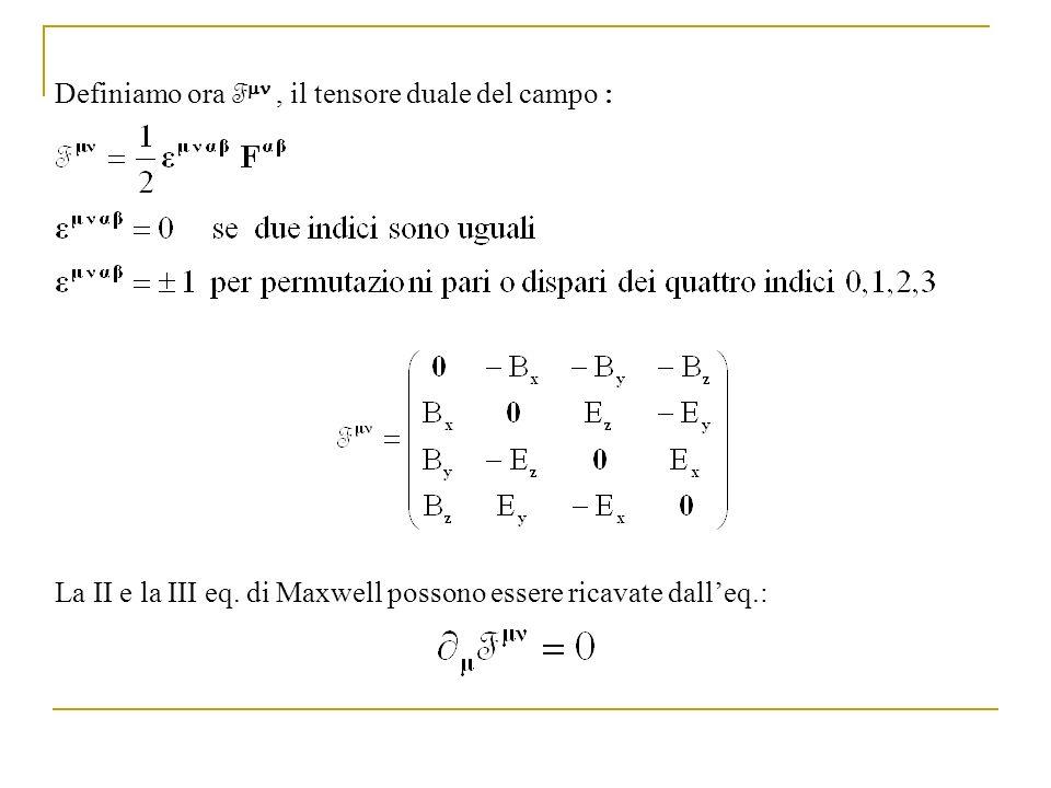 Formulazione covariante delle equazioni di Maxwell in presenza di sorgenti In presenza di sorgenti le equazioni di Maxwell si trasformano cosi: Definiamo la quadricorrente j In tal modo le equazioni di Maxwell assumono la forma relativisticamente covariante (N.B.