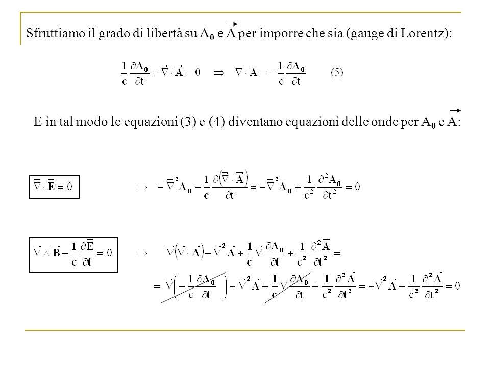 E in tal modo le equazioni (3) e (4) diventano equazioni delle onde per A 0 e A: Sfruttiamo il grado di libertà su A 0 e A per imporre che sia (gauge